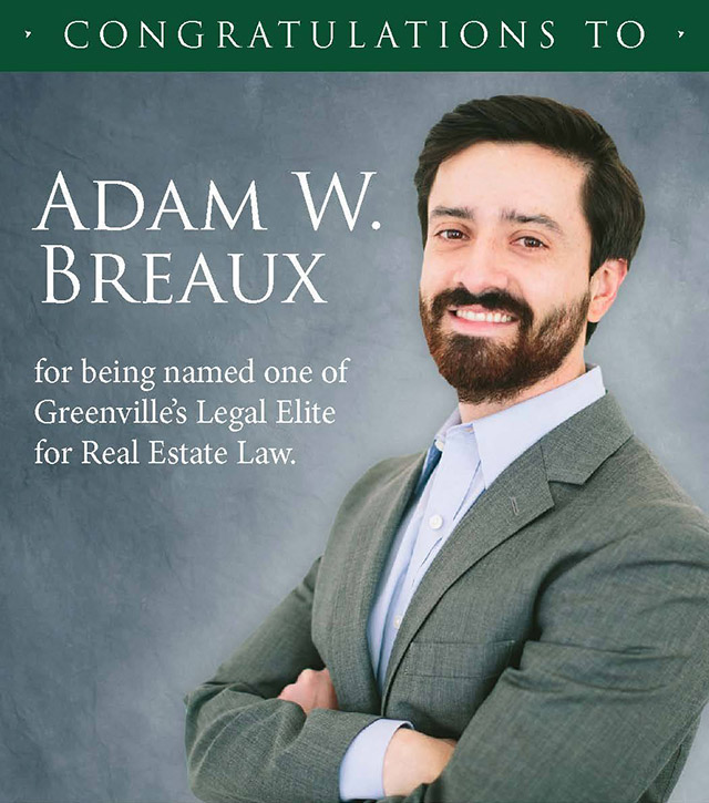 adam walker breaux real estate attorney legal elite greenville sc